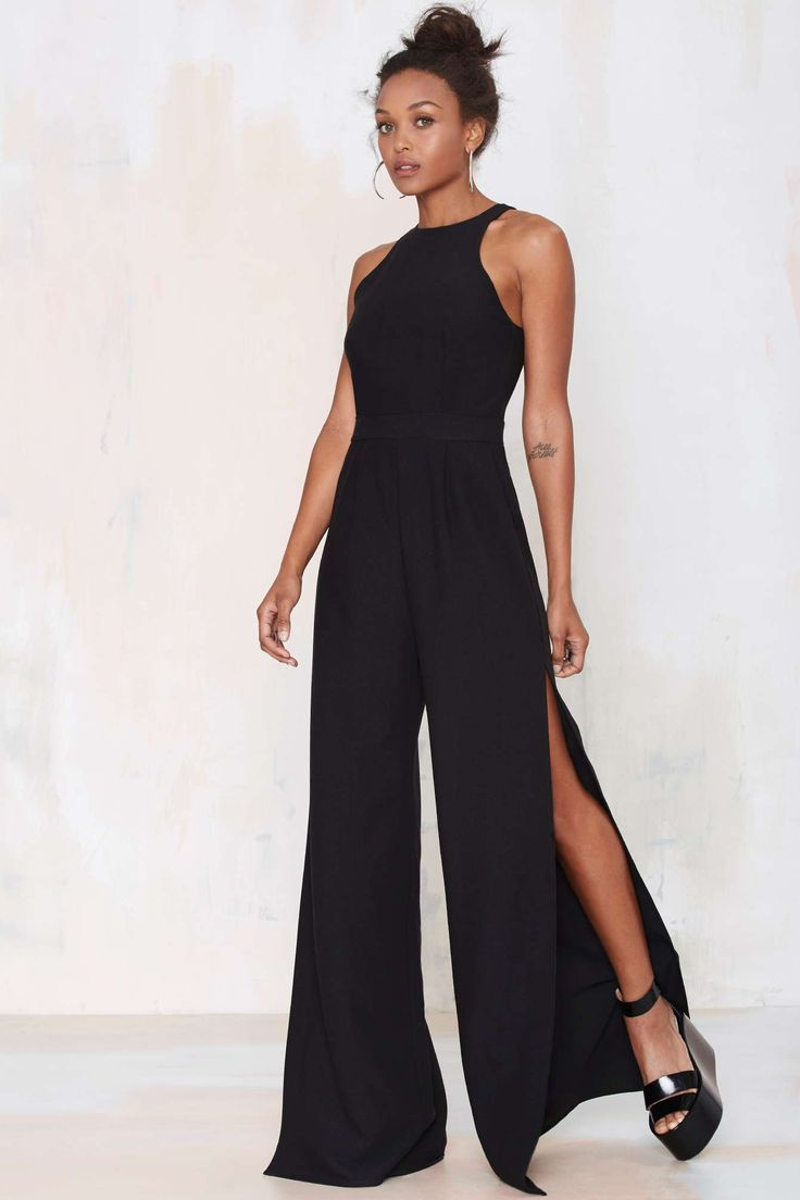 Super Cute Palazzo Jumpsuit - notice the slits in the side of the legs.