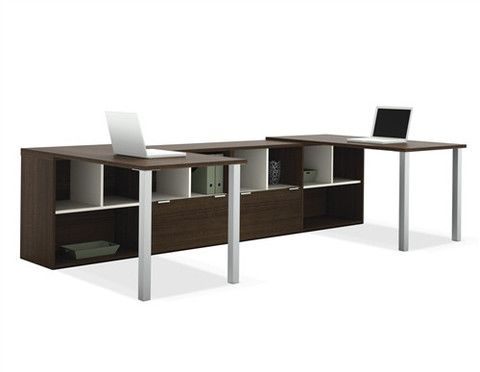 Contempo U-shaped Double Workstation in Tuxedo Finish – OfficeDesk.com