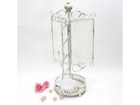 Stojan na šperky - kov bílá patina