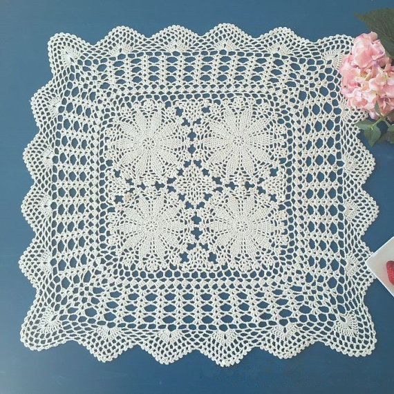 100% handmade crochet square tablecloth, vintage style sofa cover square Doilies #Handmade