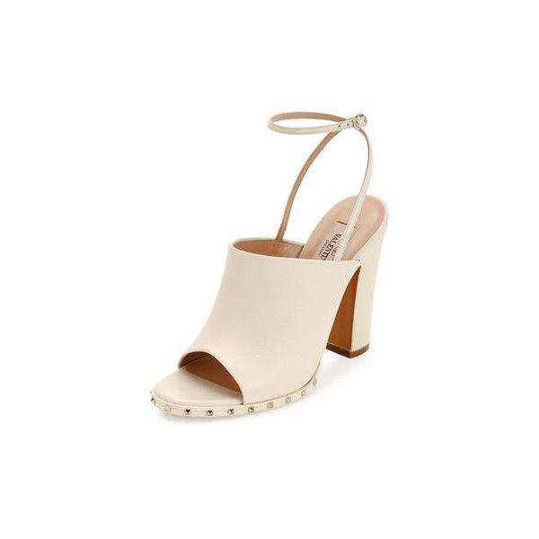 Valentino Soul Rockstud 115mm Slingback Sandal ($945) ❤ liked on Polyvore featuring shoes, sandals, ivory, shoes sandals, strappy sandals, slingback sandals, block heel slingback sandals, ivory sandals and wrap sandals