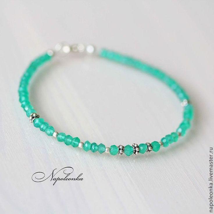 Купить Браслет из хризопраза и серебра 925 пробы - браслет из камней, браслет с камнями, браслет с серебром http://napoleonka.ru/