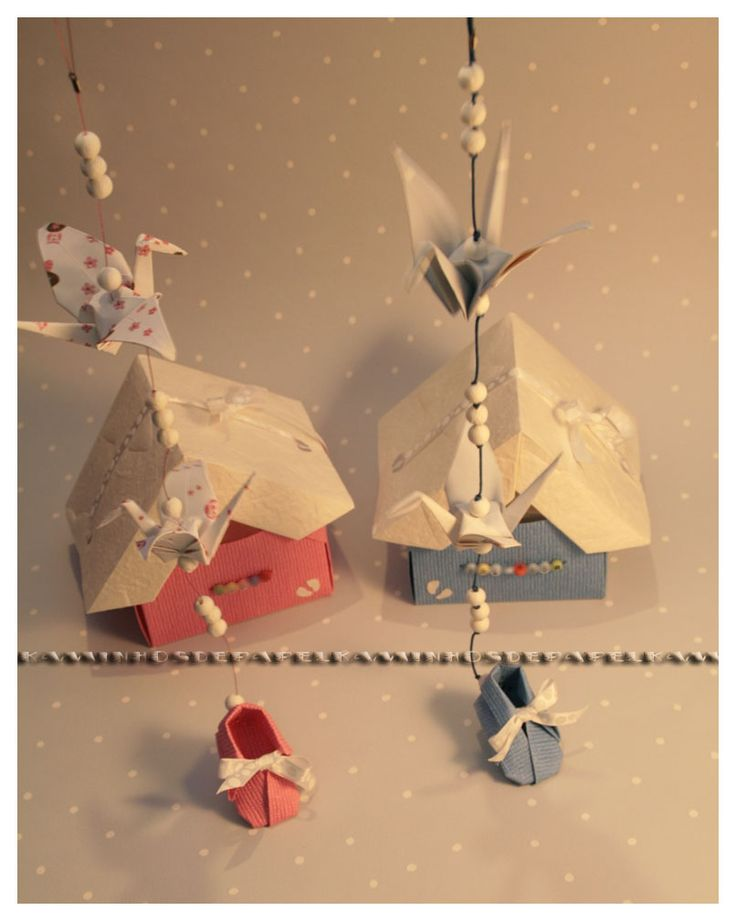 Origami house (box) with tsurus for hanging to order send e-mail to mailto:kaminhosde... (worldwide)