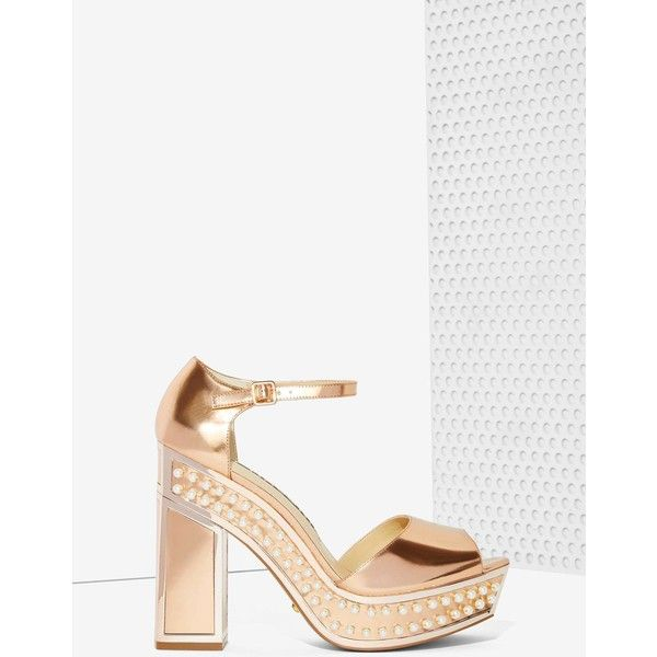 Nasty Gal x Kat Maconie Cherry Patent Leather Platform (€180) ❤ liked on Polyvore featuring shoes, sandals, gold, peep toe platform shoes, wide heel shoes, peeptoe shoes, ankle wrap shoes and patent leather shoes