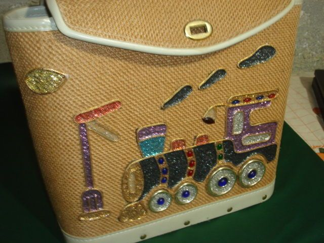 1950's PURSE, has train engine on front, by DEBBIE, WOODEN BOTTOM, VINYL TRIM, #byDebbie