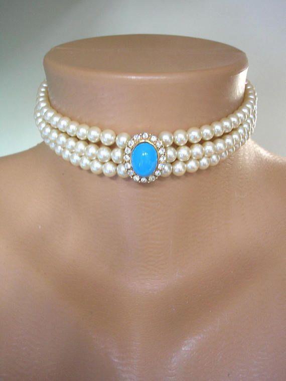 Perla Choker Attwood & Sawyer collana di perle Vintage