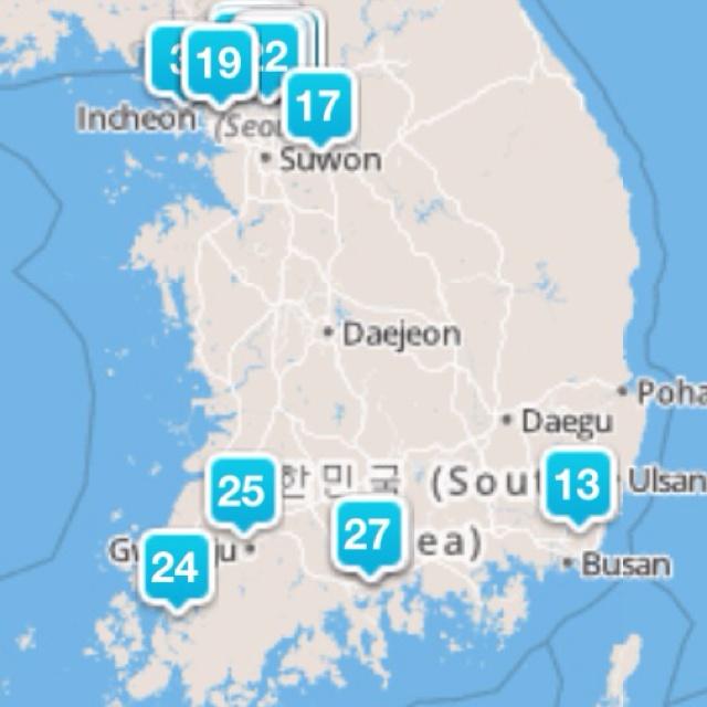 대한민국 포스퀘어 스왐지도(Foursquare Swarm Map Of South Korea)