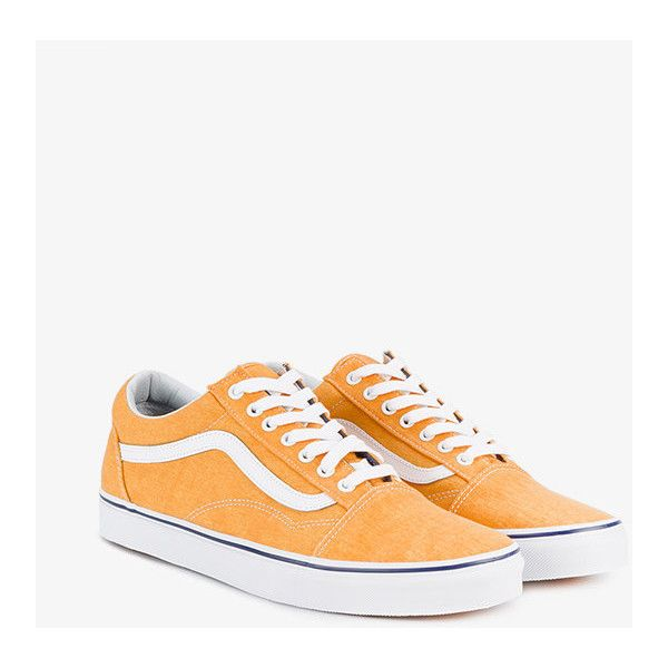 Vans Citrus Orange Old Skool Trainers ($66) ❤ liked on Polyvore featuring men's fashion, men's shoes, men's sneakers, mens orange sneakers, mens orange shoes and vans mens shoes
