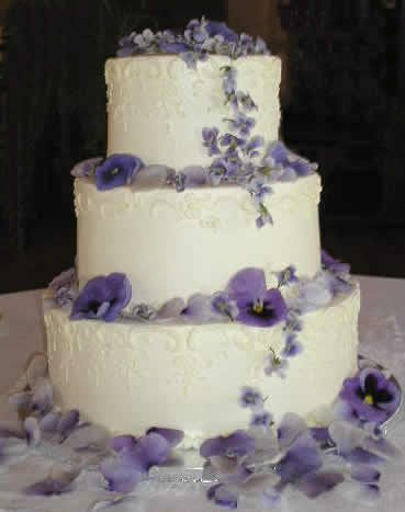 Cake Accents: Blue Pansies and Violets (edible) by Rose of Sharon-Event Florist, via Flickr