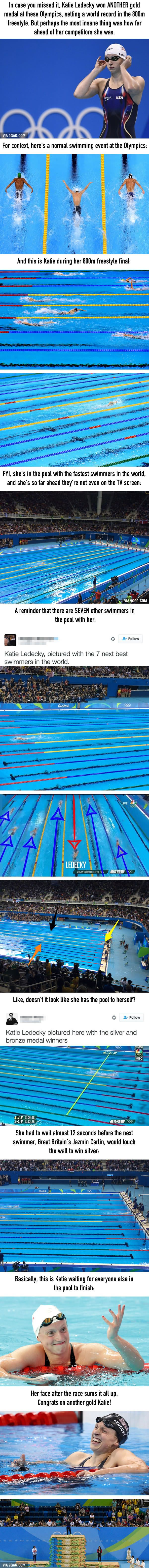This Is How Much Faster Katie Ledecky Is Than Everyone Else In The Pool - 9GAG