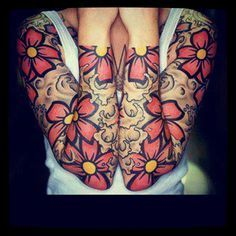 Bright Flower Tattoo Designs | love the bold outlines in this tattoo contrasted by the bright ...