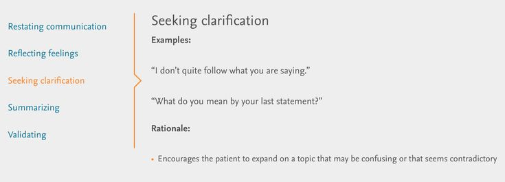 Verbal Therapeutic Communication: seeking clarification