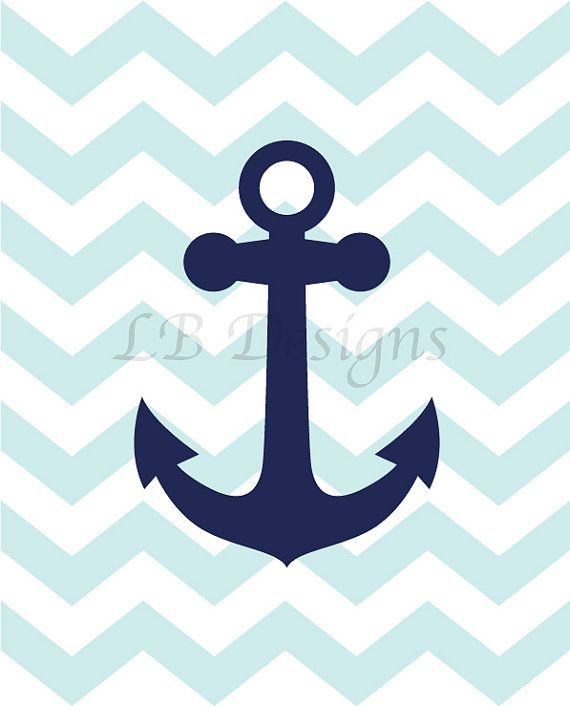 Anchor Nursery Print Navy Blue And Baby Blue Nursery Boy