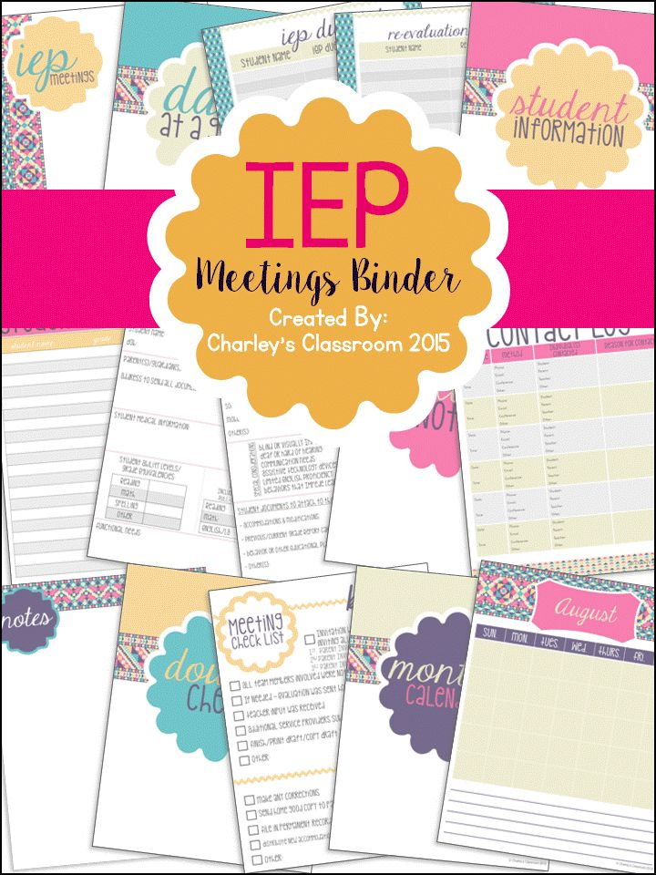 Special education teachers, as well as regular education teachers, can have quite the caseload of special education students. My IEP Meetings Binder will take away some of the stress for planning an upcoming IEP meeting for you as it has for me! I use this product at the beginning of every year and can say I have successfully stayed organized and on top of all of my IEP meetings!