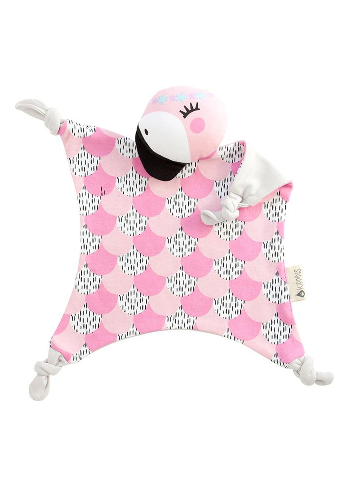 This is a beautiful pink and black feather print flamingo baby comforter and soft toy with a soft grey back. This baby comforter is the cutest of flamingos, ready to dance in your dreams, and cuddly you all night long.  Kippins are designed using simple and bold prints that new babies are totally drawn to! They're hypoallergenic and gentle against new babies' skin – perfect for bedtime and during the day. Let them take you to the magical world of Kippi.
