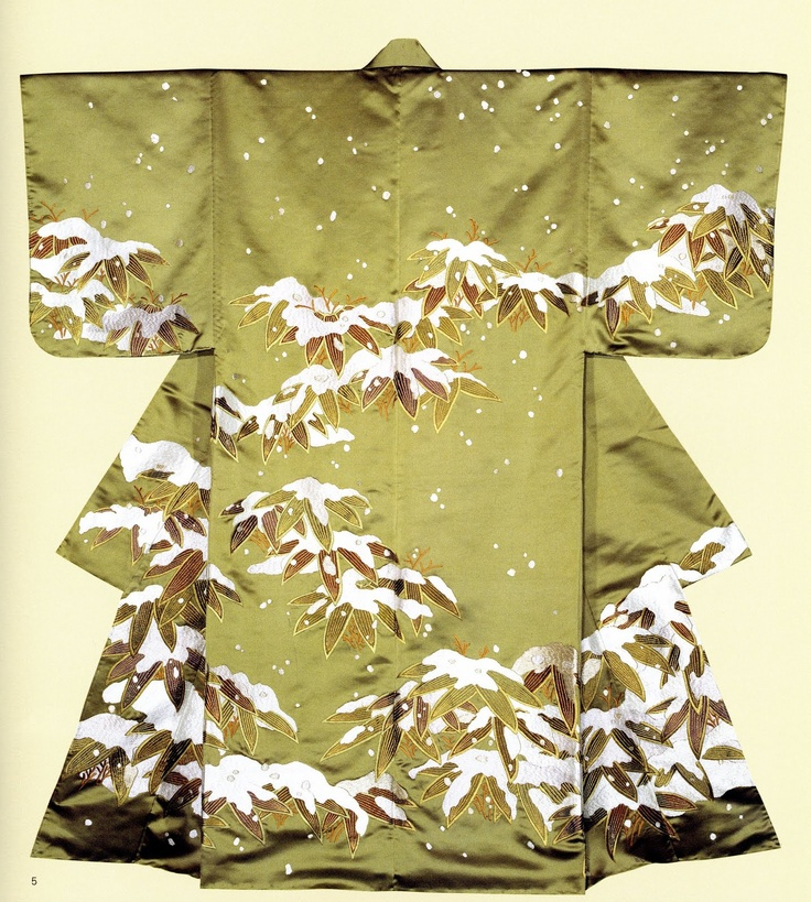Japan, green silk kimono, bamboo covered by snow, 20th c