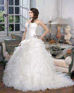 Vestidos de novia equisite Una línea sin tirantes de partida acanalar del cepillo tren de organza