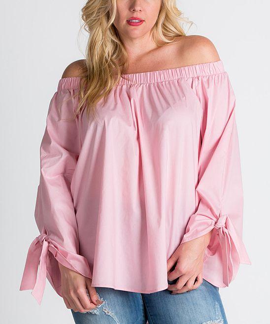 Dusty Pink Bardot Off-Shoulder Top - Plus