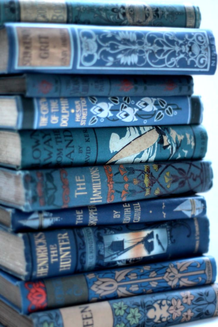 old books with blue bindings
