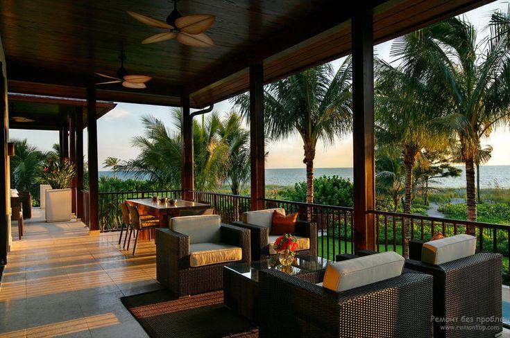 Роскошный дизайн открытой веранды с чудесным видом