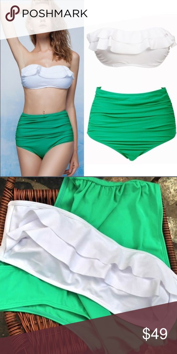 Gorgeous !! NWT High Waisted Bikini Size Small I am so in LOVE with this bikini !! Brand New With Tags • Size Small • Bottoms are high waisted • Kelly green • Top is bandeau style with removable cups • White  Be sure to take a peek in my closet ..right now I am offering FREE SHIPPING on all orders of $40 or more including bundles  Southern Britches Swim Bikinis