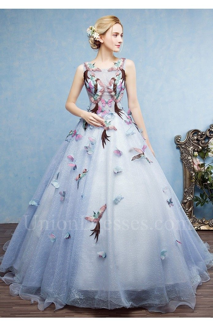 d6c890d46b Ball Gown Scoop Open Back Blue Tulle Prom Evening Dress With Bird ...