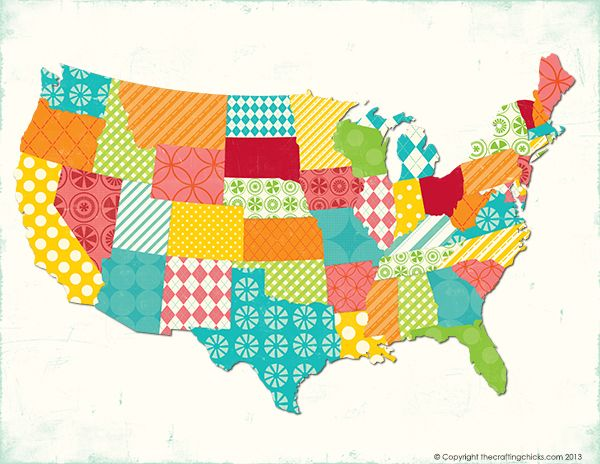 Best Maps Images On Pinterest Printable Maps Map Quilt And - Pretty us map