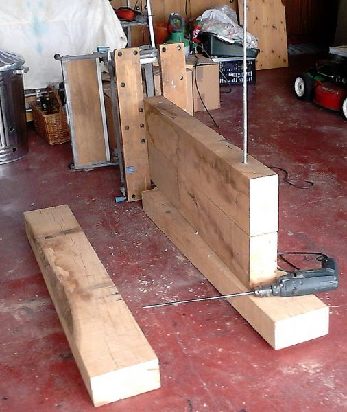 Constructing a coffee table from new oak railway s…