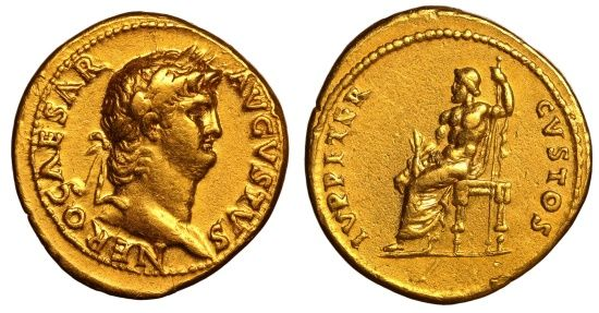 Ancient Coins - Nero. AD 54-68. AV Aureus EF, Good portrait. COMMEMORATES PISONIAN CONSPIRACY RARE