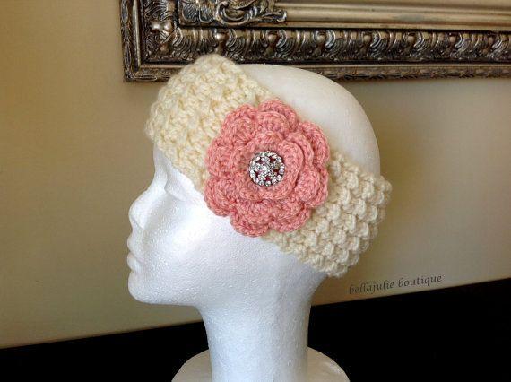 Flower Headband Crystal Headband Crochet Ear Warmer Peach