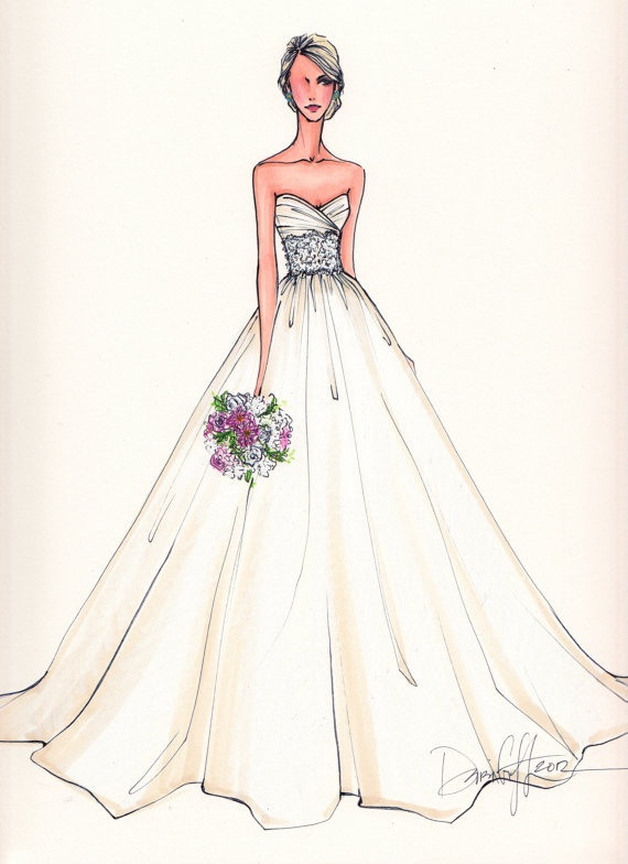 Custom Wedding Gown Illustration FRONTAL by IllustrativeMoments, $180.00