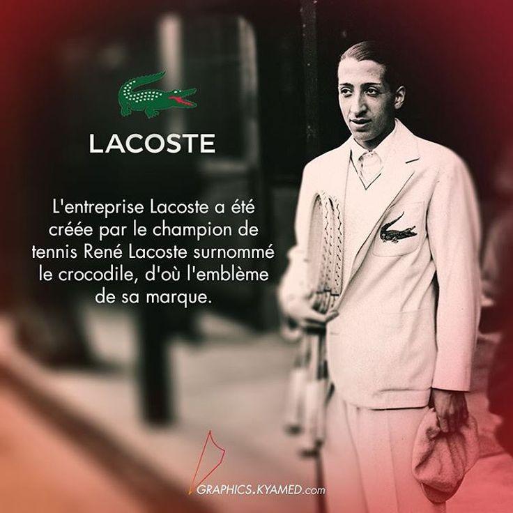L'entreprise Lacoste a été créée par le champion de tennis René Lacoste surnommé le crocodile, d'où l'emblème de sa marque.