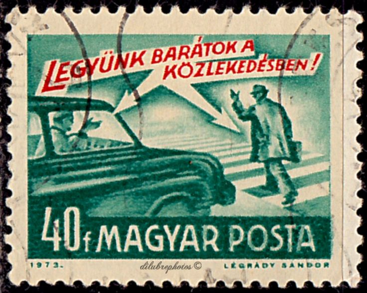 """Hungary.  """"Let's be Friends in Traffic"""" .  To publicize traffic rules.  Scott 2247 A511, Issued 1973 Aug. 18,  Photo.,  Perf. 12x11 1/2, 40f. /ldb."""