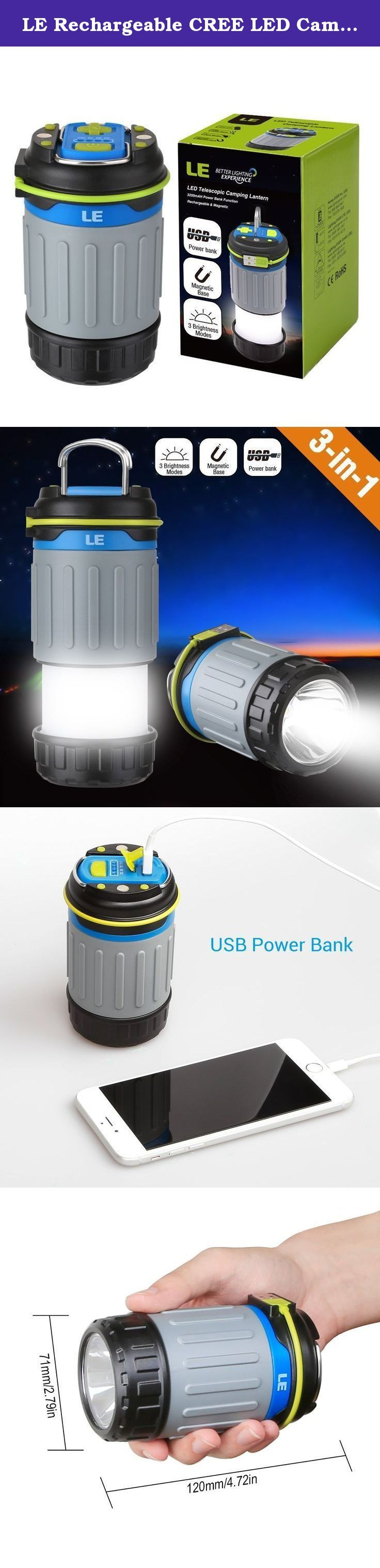 LE Rechargeable CREE LED Camping Lantern, 330lm, 3200 mAh USB Power Bank, Collapsible & Magnetic Camping Lights, 3 Modes Tent Light, Emergency Lantern/Portable Charger for Outdoor Activities. Rechargeable Batteries With 3200mAh built-in -rechargeable batteries (USB cable provided), you can take it anywhere. -The USB charging cord is wrapped around the light, making it neater and convenient. It is there when you need to charge it, no hunting for the cord. -A row of blue indicator lights…