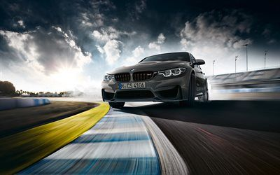 BMW M3 CS, 4k, drift, 2018 cars, F80, supercars, raceway, new M3, BMW