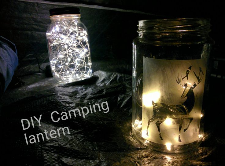 DIY Lantern Jar with etched glass and string lights