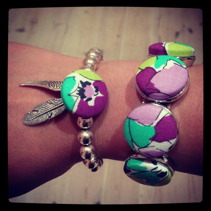 Combination bracelets . Fabric button and beaded bracelets
