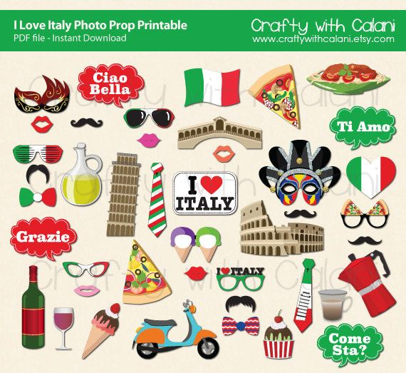 Italy Theme Photo Booth Prop I Love Italy by CraftywithCalani