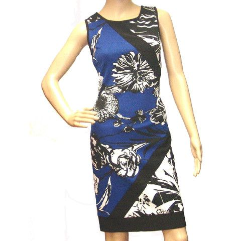 Joseph Ribkoff Women's New Cobalt Blue, Black and White Dress - 151717