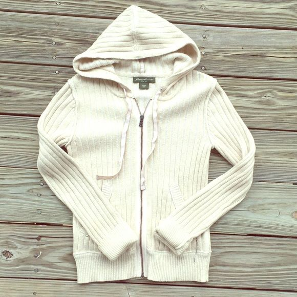 Cream Zip Up Sweater Cute by itself or as a jacket. Has pockets and a hood. | NO TRADES, NO HOLDS, NO PAYPAL/MERCARI & all negotiations through the offer button, please ❤️ Eddie Bauer Sweaters
