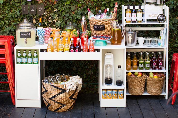 A backyard beverage station is perfect for movie night.