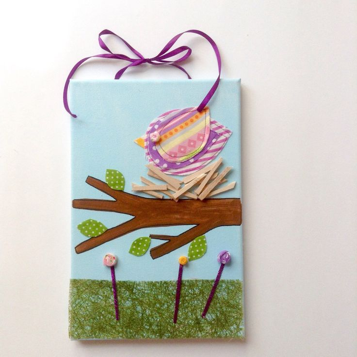 A personal favourite from my Etsy shop https://www.etsy.com/listing/466762221/bird-on-a-nest-canvas-for-kids-bedroom