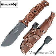 Blackfox Outdoor-Messer Survival Feuerstarter längs/quer Premium-Lederscheide