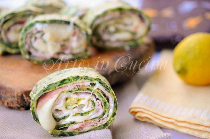 Girelle salate di spinaci farcite prosciutto e ricotta