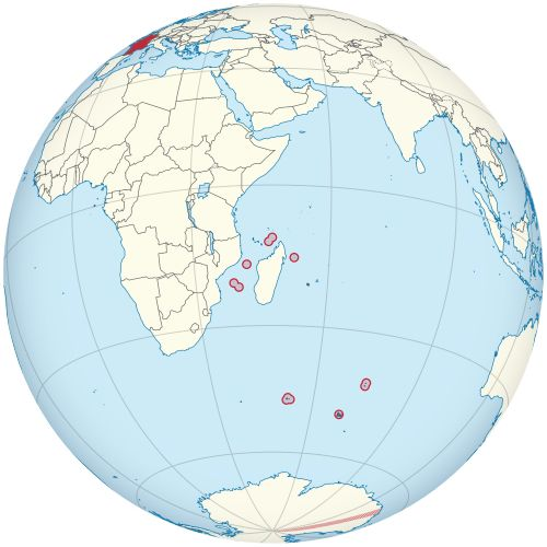 Location of French Southern and Antarctic Lands(circled in red)in the Indian Ocean(light yellow)