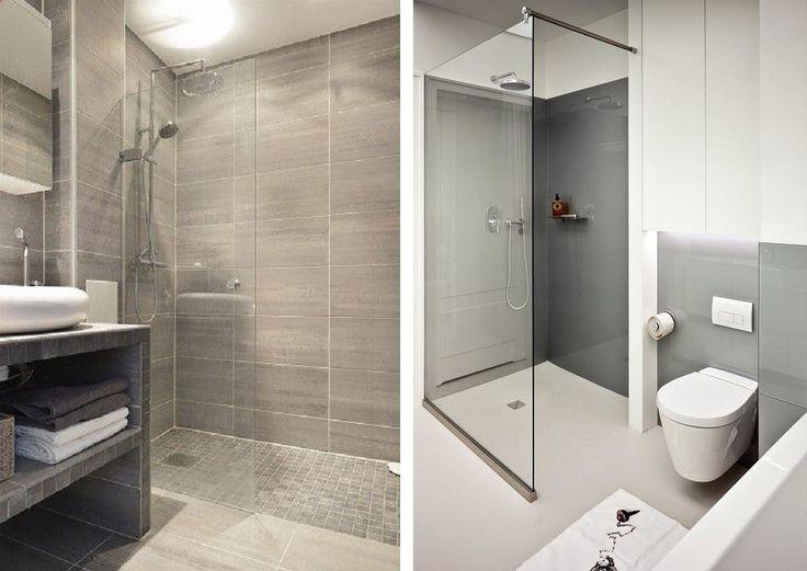 Mała łazienka szara z kabiną prysznicową