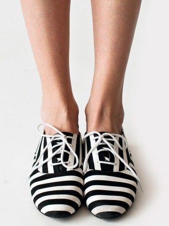 American Apparel black white stripes oxford shoes