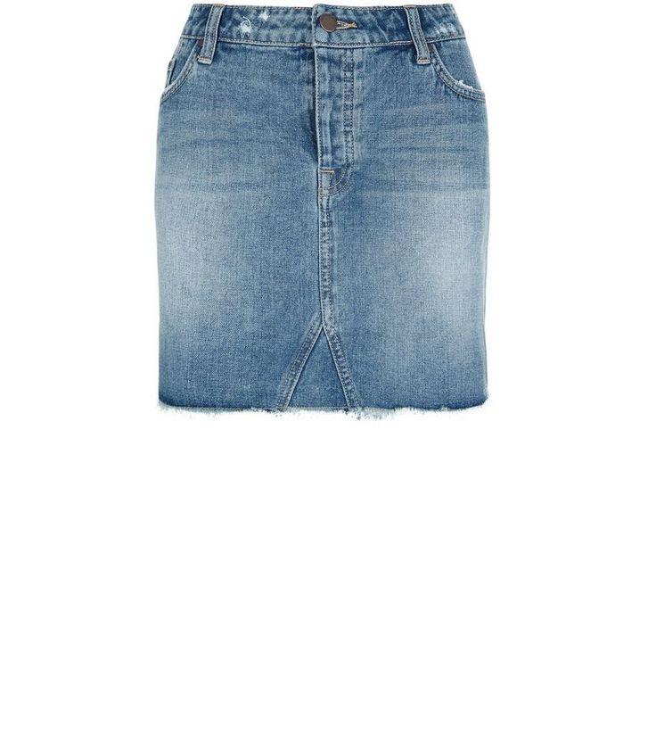 Blue Fray Hem Denim Skirt  | New Look