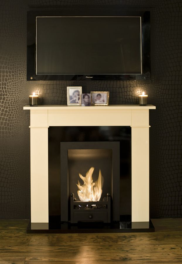 595 Carrington Cream Traditional Bio Ethanol Fireplace