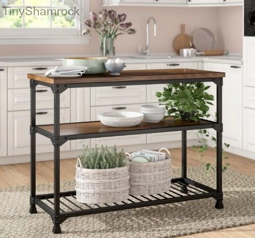 Rustic Style Kitchen Island Console Table Dining Room Buffet Wood Metal Shelf Consolebuffetislandtable Home Decor Furniture Kitchen Furniture